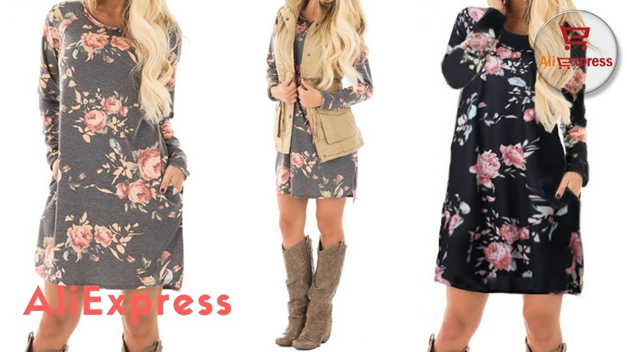 Dress From AliExpress. Women Autumn Floral Printed 2018 Female Long Sleeve  Mini Dresses Cotton. f5ef6981f71a