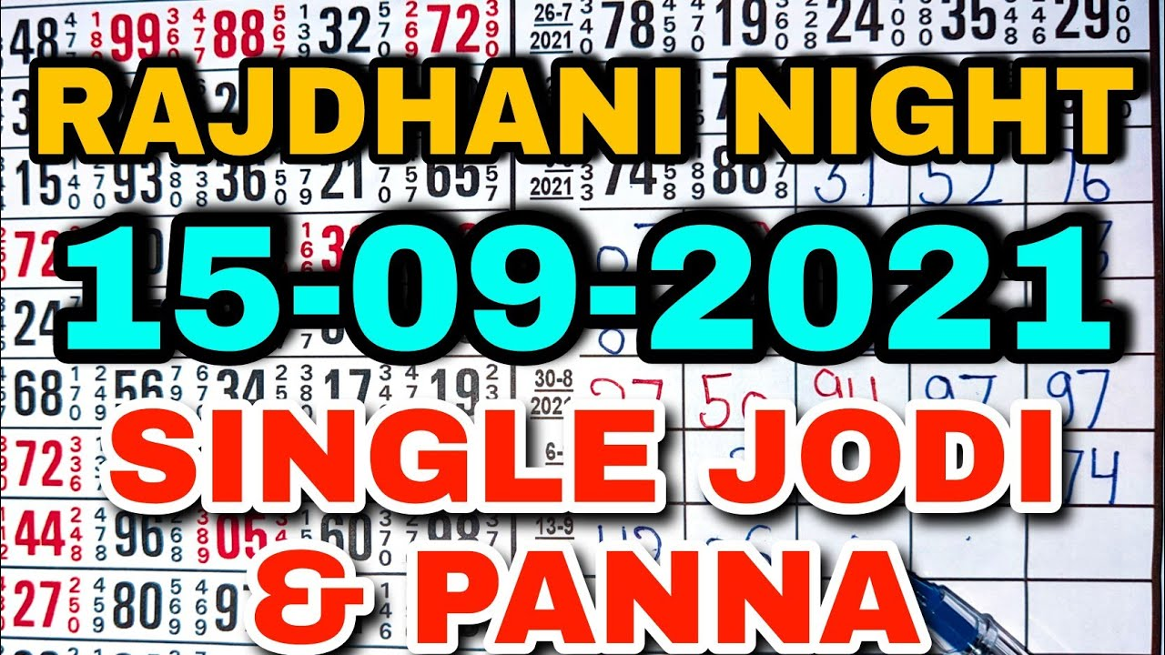 *15/09/2021* RAJDHANI NIGHT STRONG OPEN WITH STRONG JODI TRICK