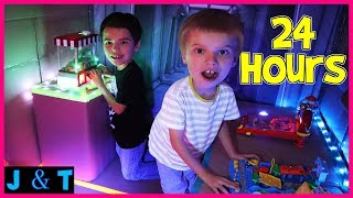 24 Hours In Box Fort Arcade / Jake and Ty