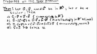 Euclidean Spaces Lecture 2 Part 1: Properties of the Inner Product