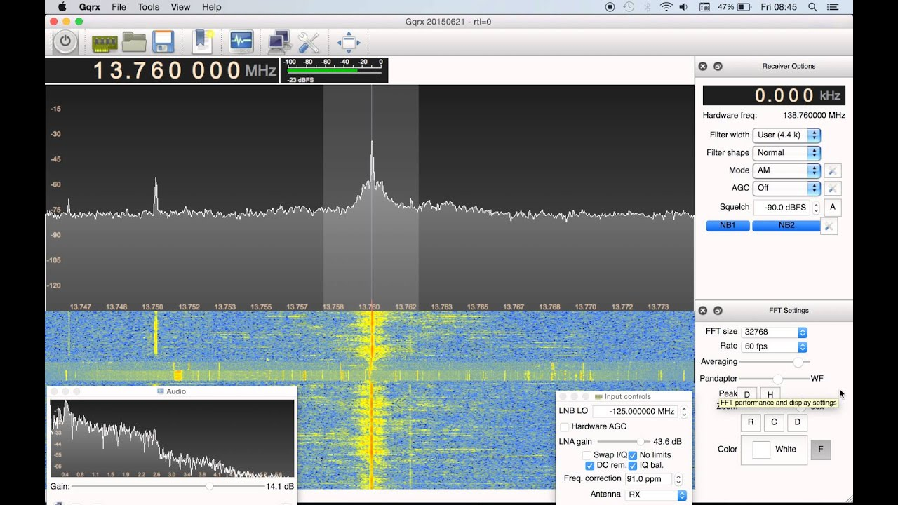 RTL-SDR on a Mac using GQRX: Voice of Korea 13760 KHz