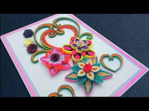 #PaperQuilling | How to make Beautiful Flower Design Birthday Greeting Card | Paper Quilling Art