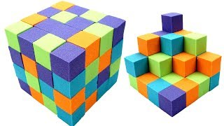 DIY How To Make Toys For Kids Learn Colors With Magic Cube Kinetic Sand Rainbow