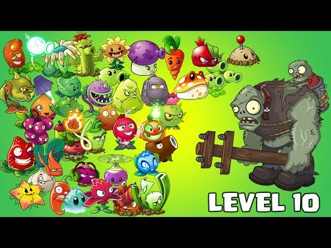 Plants Vs Zombies 2 Cada Planta Mas Fuerte Con Nutriente Nivel 1 Vs Zombistein Nivel 10