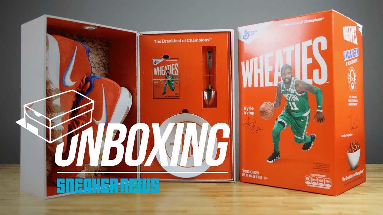 best website c09f9 43783 Unboxing The Wheaties Nike Kyrie 4 Package