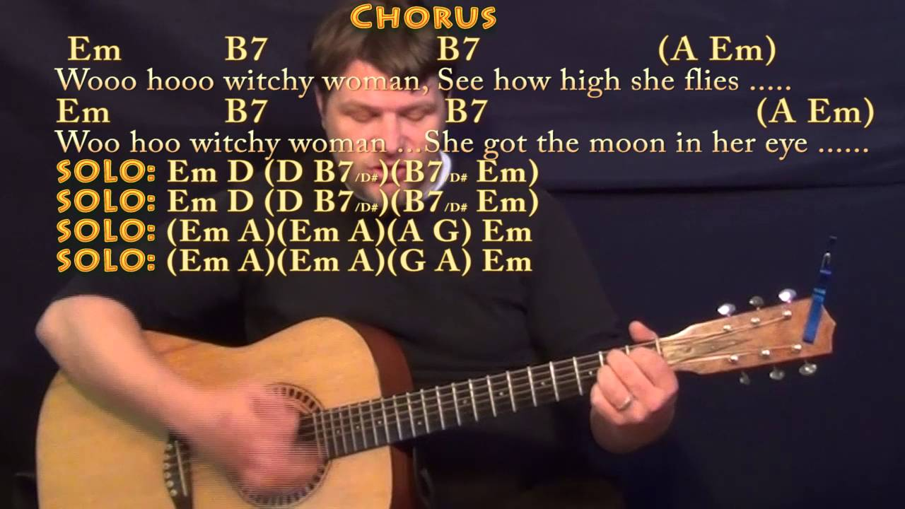 Witchy woman the eagles strum guitar cover lesson in em with witchy woman the eagles strum guitar cover lesson in em with chordslyrics hexwebz Images