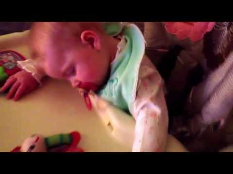 6 Month Old Girl Falls Asleep in High Chair