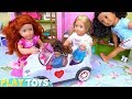 Baby Dolls Play Pink Car Toys in Dollhouse!