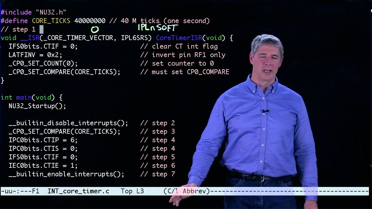 PIC32 interrupt code example (Kevin Lynch)