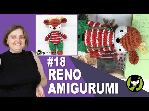 RENO NAVIEÑO AMIGURUMI 18 cuernitos de reno tejidos a crochet