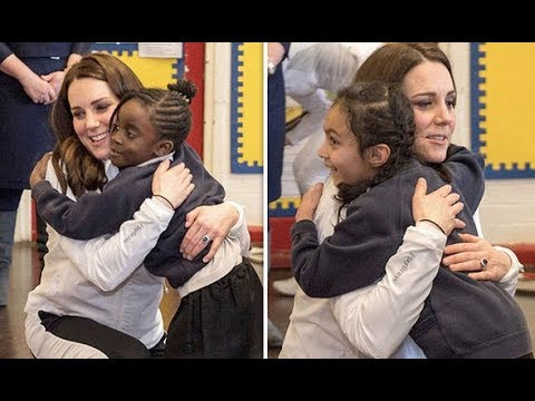Kate Middleton bids farewell to schoolchildren with hugs as she visit Bond Primary School