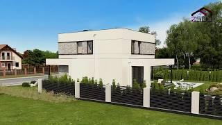 Проект двухэтажного дома с плоской крышей Zx92 от Z500