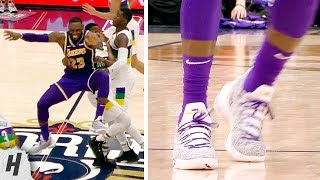 LeBron James Almost Injured Himself But Gets Up & Didn't Even Limp! Lakers vs Pelicans