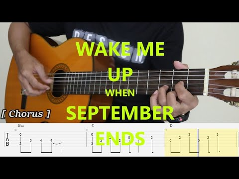 WAKE ME UP WHEN SEPTEMBER ENDS - Fingerstyle Guitar Tutorial TAB