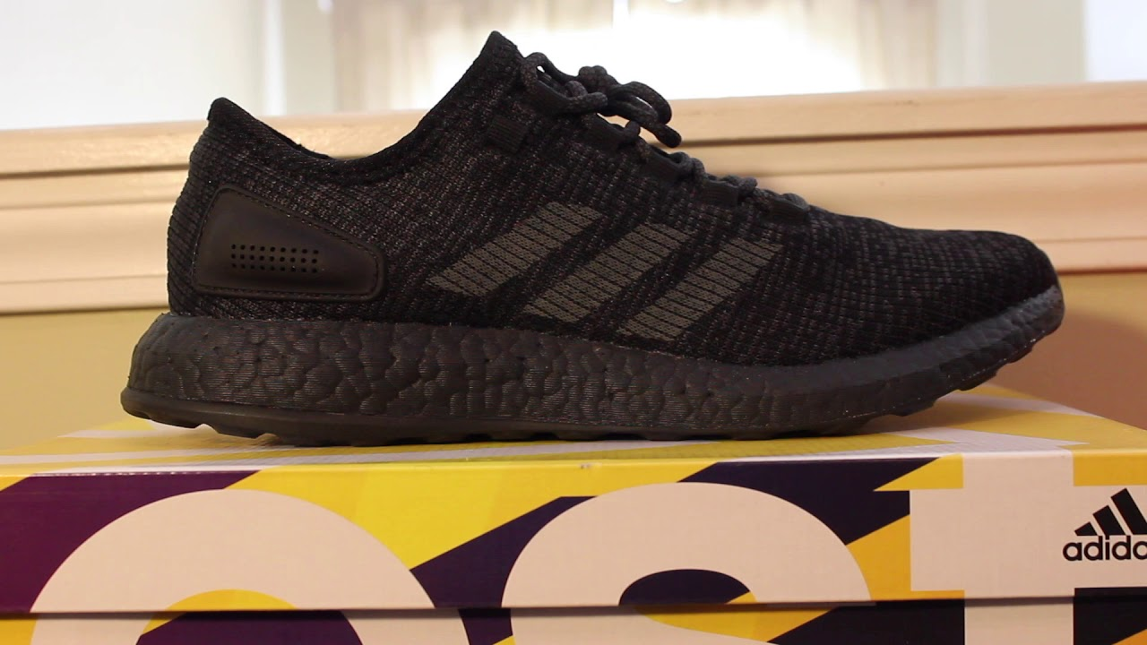 665de1bd3fa06 Triple Black Pure Boost Adidas REVIEW 2017 - YouTube