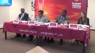 Commissioner Angie Makwetla introducing the panel at the hearing on mental health.