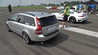 500HP Volvo V50 T5 vs 720HP Porsche 991 Turbo S vs 740HP BMW M4 F82