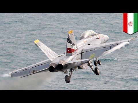 Iran vs USA: Iranian drone nearly collides with F/A-18E Super Hornet over Persian Gulf - TomoNews