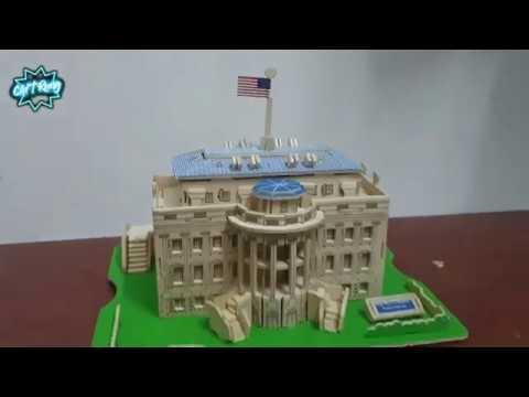 Woodcraft Construction Kit 3D [ Miniature White House model ] Lắp ráp bộ mô hình nhà trắng bằng gỗ