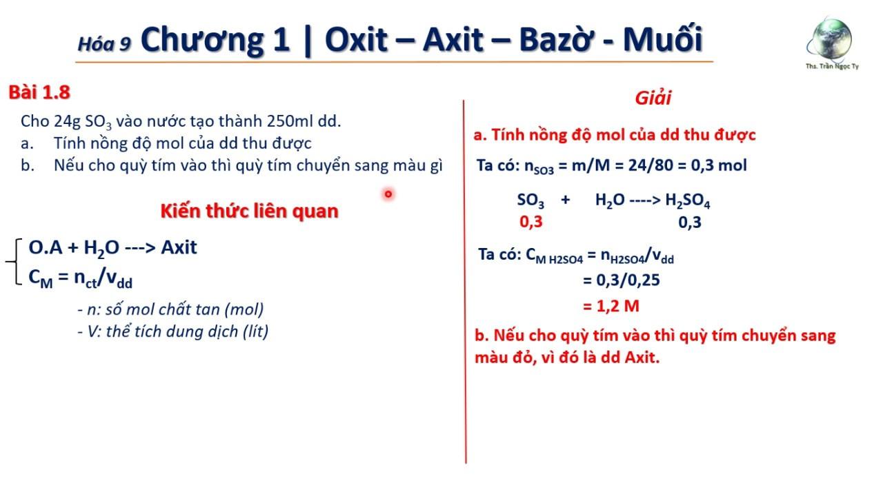 ✔ Hóa9| Giải nhanh bài toán Oxit axit + H2O Thần Thánh (Tính nồng độ Mol)
