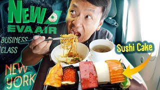 NEW AWESOME Eva Airline BUSINESS CLASS! SUSHI CAKE & Self Isolation in New York