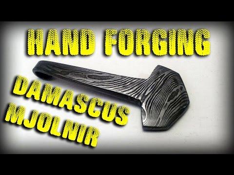 Hand Forging Damascus Mjolnir - Thors Hammer