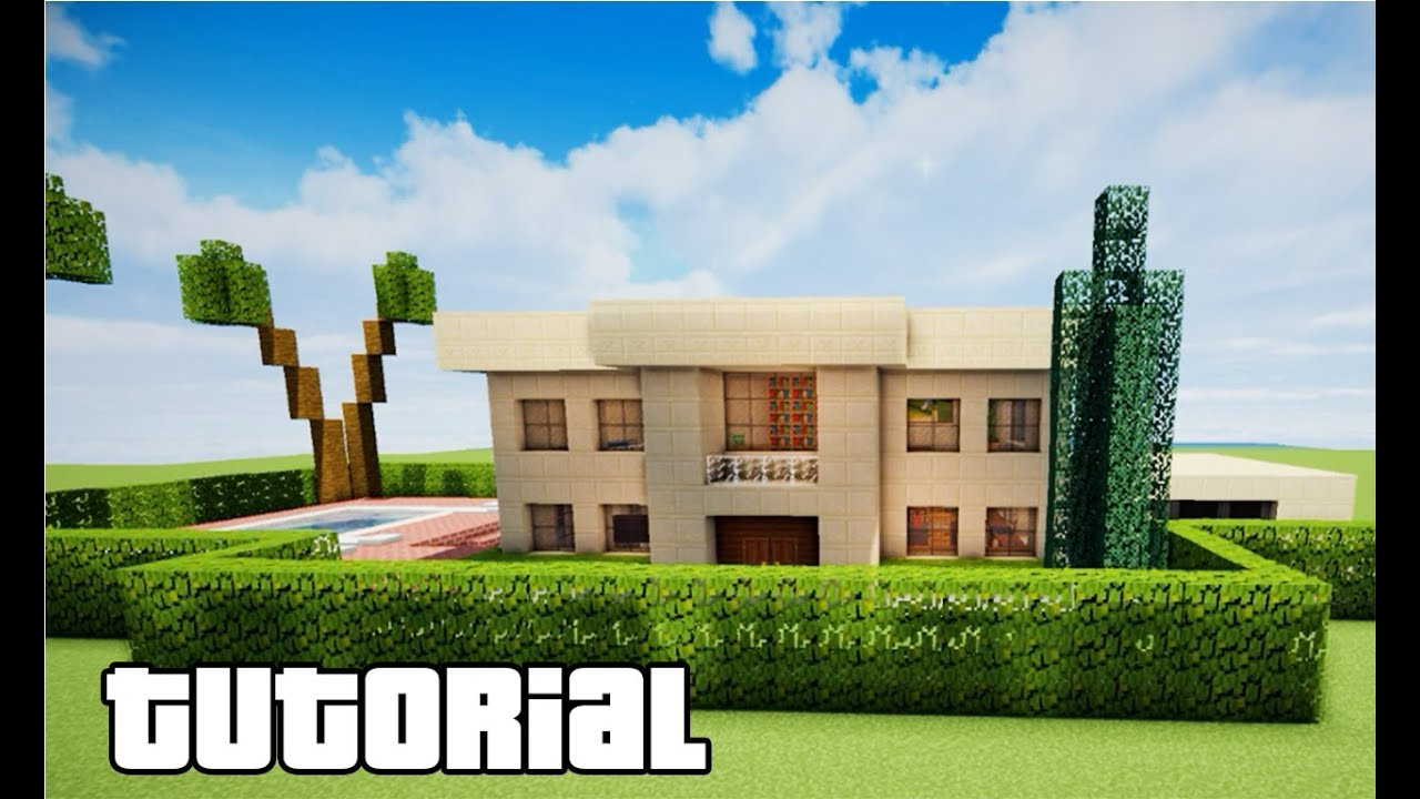 Minecraft Como Fazer Uma Casa Moderna Com Piscina Youtube