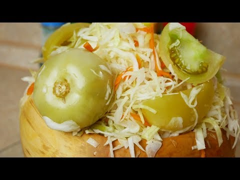 Sauerkraut TOMATOES with cabbage. GREEN tomatoes for the winter, Gypsy cooks. Gipsy cuisine.