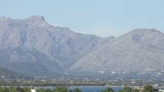 Panorama of Mallorca mountains from Alcudia city walls Balearic Spain