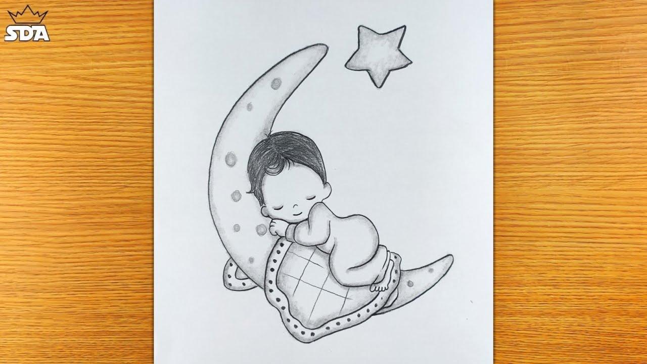 Cute Baby sleeping scenery/baby drawings