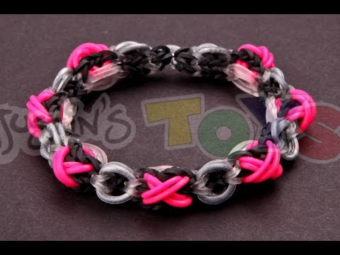 XOXO Bracelet Tutorial - VERY ADVANCED - Made with Rainbow Loom Rubber Bands