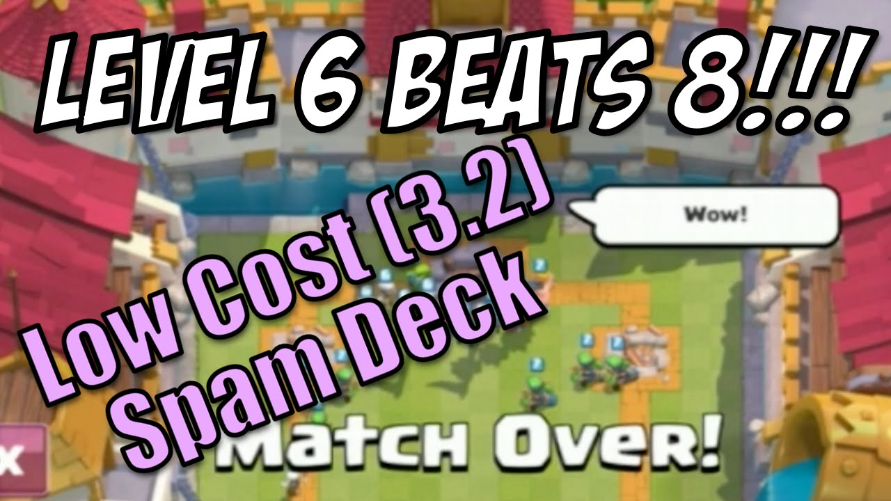 Clash royale level 6 beats level 8 low cost spam deck for Clash royale deck molosse