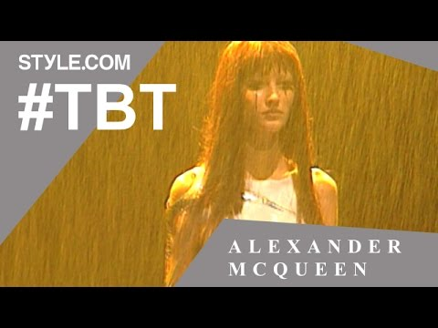 Gisele Bündchen in Alexander McQueen's Spring 1998 Golden Shower Fashion Show - #TBT - Style.com
