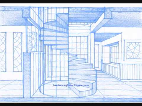 how to draw a spiral staircase by miandza - YouTube