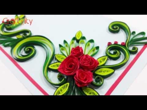 DIY Paper Quilling Flowers Cards Tutorial Art: How to make Paper Quilling Rose Flower Card Ideas