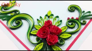 Paper Quilling Flowers Cards: How to make Paper Quilling Rose Flower Card