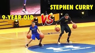 Stephen Curry vs. 9-year old in Dribbling Exhibition (2016 UA tour)