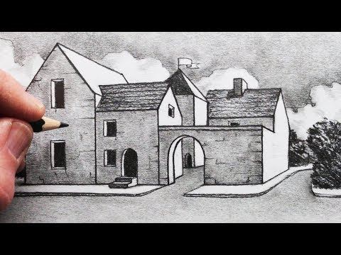 How to Draw Buildings in 1-Point Perspective: Narrated