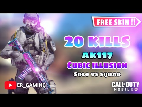 20 kills with new Ak117 skin Cubic illusion Call of Duty Mobile Battleroyale Solo vs Squad