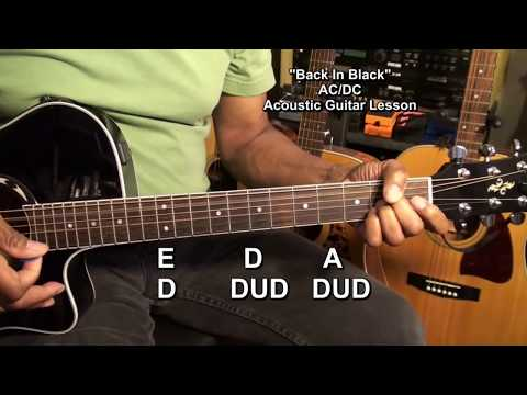😎 How To Play BACK IN BLACK AC/DC ACOUSTIC Guitar Lesson Tutorial