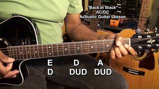 BACK IN BLACK AC/DC Acoustic Guitar Lesson Tutorial EricBlackmonMusicHD