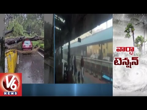 Vardah Cyclone Effect   Strong Winds Cause Heavy Damage In Tamilnadu   V6 News