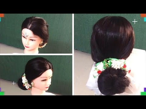 Elegant Royal Look Bun Hairstyle With Jasmine Garland Youtube