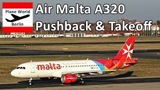 Air Malta Airbus A320 pushback & takeoff from Berlin Tegel Airport