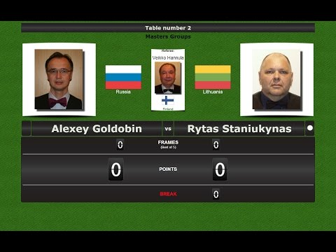 Snooker Masters Groups : Alexey Goldobin vs Rytas Staniukynas