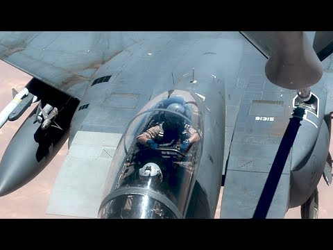 Airplane Refueling In The Sky: Great Look Of KC-135 Stratotanker Refueling F-22 & F-15E