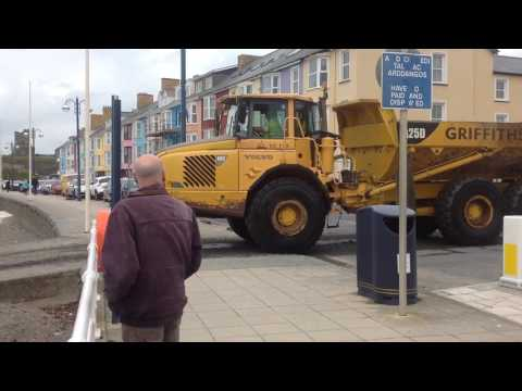 Aberystwyth, Harbour dredging with spoil being dumped on South Beach. March 2017. Video 2 of 2