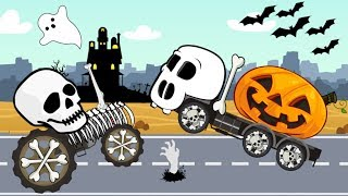 Tractor Skeleton VS Pumpkin Truck, Excavator & Concrete Mixer Construction Vehicles Kids