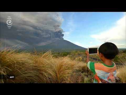 Mt Agung ash and rock eruptions close Bali airport