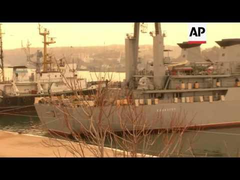 Ukrainian navy ships blockaded by four Russian ships in Crimean port